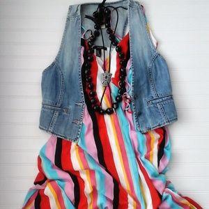 Rainbow Striped Wrap Maxi Dress